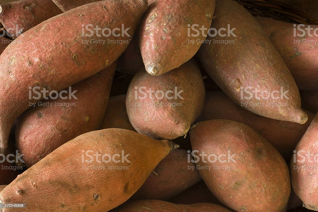 Raw  Whole Sweet Potatoes Yams, Fresh Healthy Root Vegetable stock photo