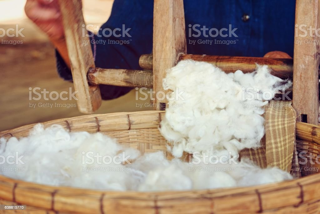 raw yarn production of  folk crafts in thailand. stock photo