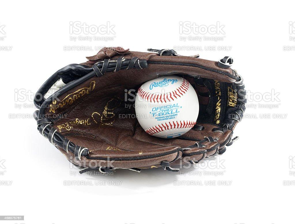 Rawlings Baseball Glove and T-Ball Isolated stock photo