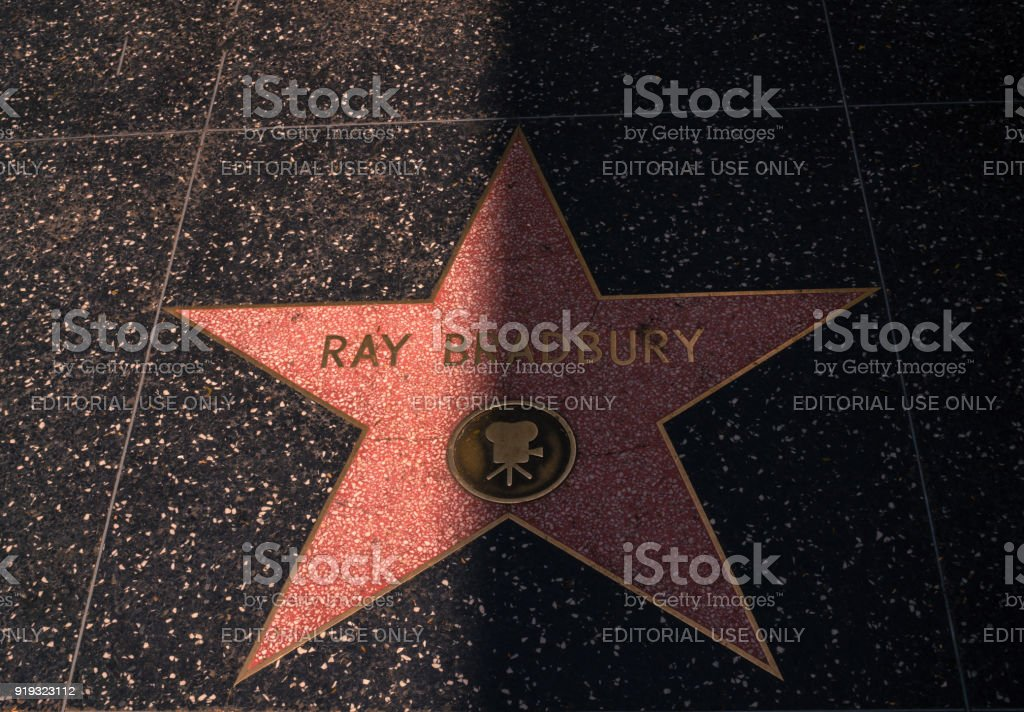 Ray Bradbury Star on Hollywood Boulevard. Hollywood Walk of Fame. Tourist attraction of Hollywood Boulevard in Los Angeles, California - foto stock