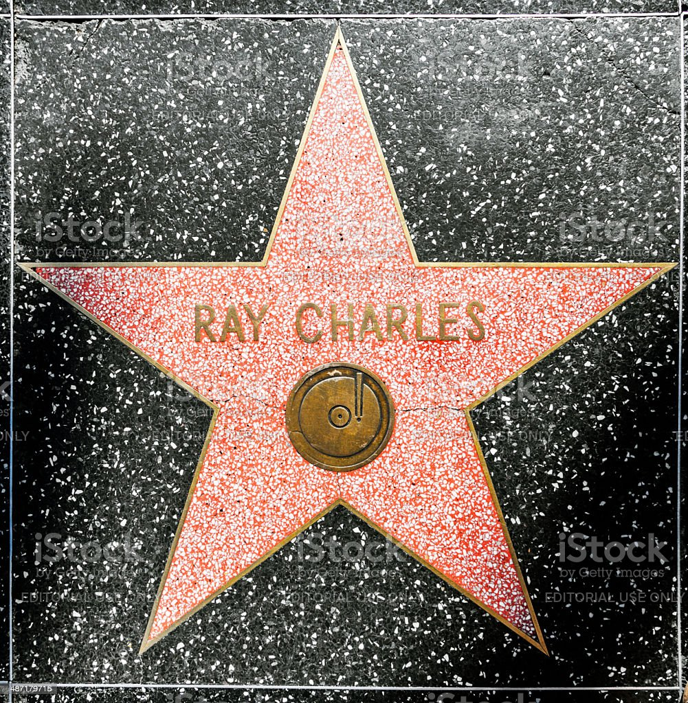 Ray Charles's star on Hollywood Walk of Fame stock photo