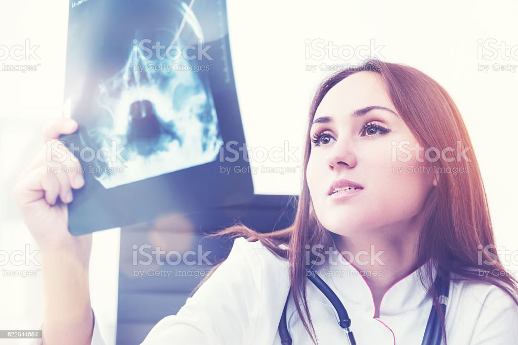 X ray doctor at work stock photo