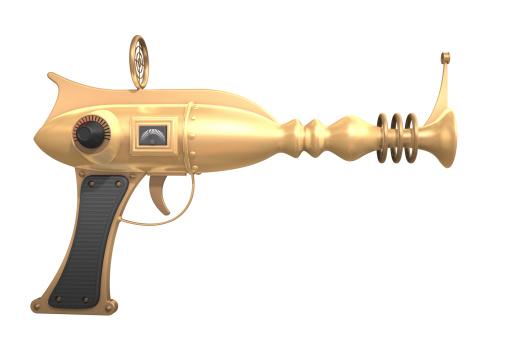 Gold metallic ray gun. Could be useful in a future weapons or science fiction composition. This is a detailed 3d rendering.