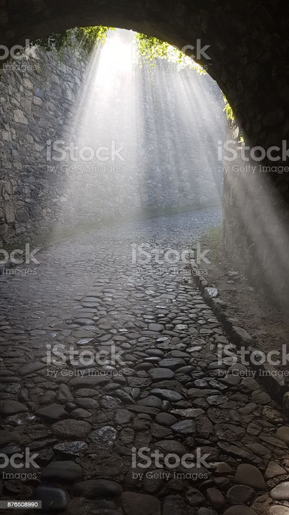 A ray of light in a tunnel stock photo