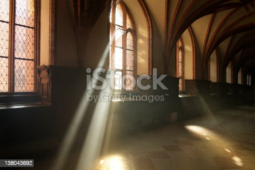 A corridor in medieval abbey in Malbork, Poland