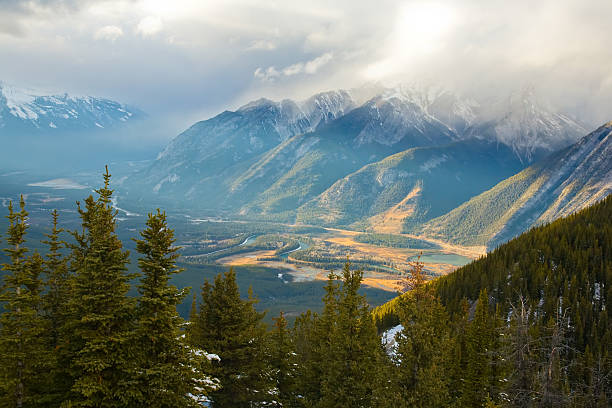 Ray of Light in Bow Valley near Banff City Ray of Light in Bow Valley near Banff City high seat stock pictures, royalty-free photos & images