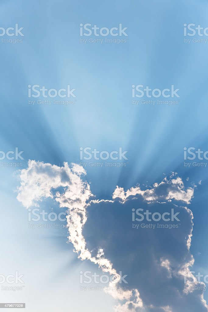 Ray of lights through the clouds stock photo