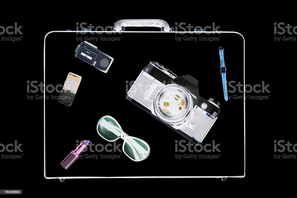 X ray of objects in briefcase royalty-free 스톡 사진