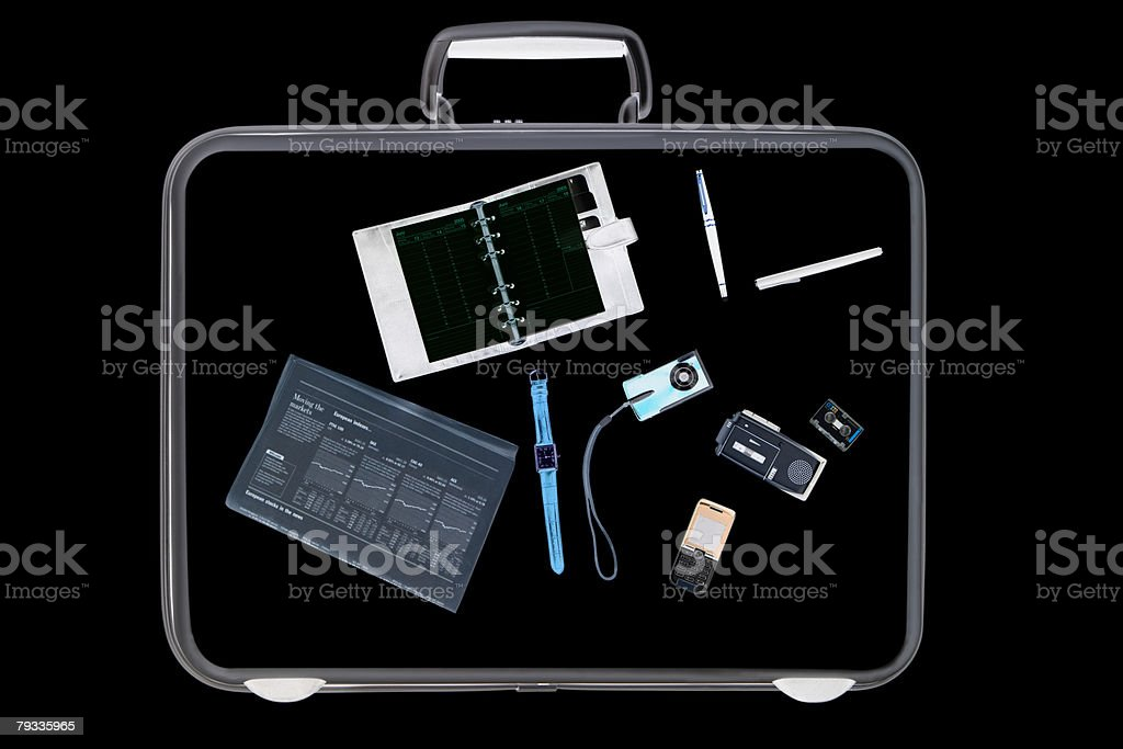 X ray of objects in briefcase stock photo