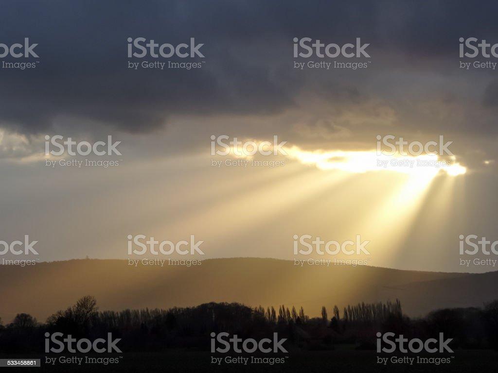 Ray of sunshine stock photo