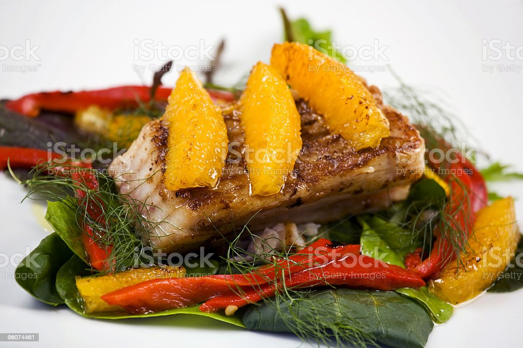 Ray wing with oranges and vegetables royalty-free stock photo