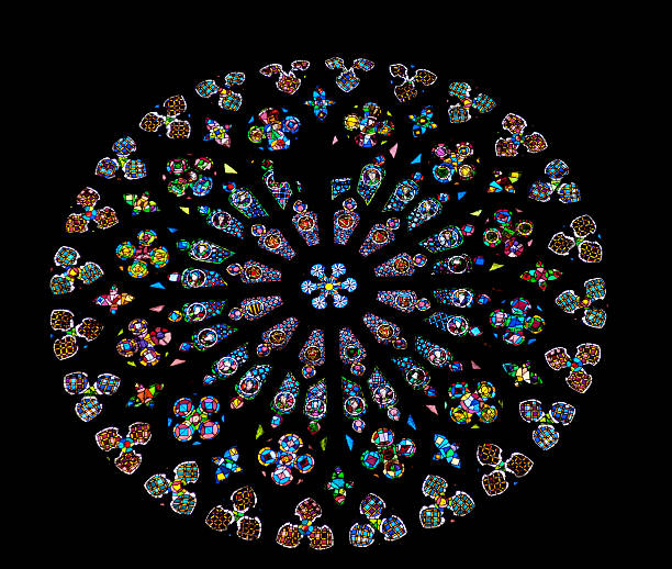 rayonnant rose stained glass window st maria del pi barcelona - rose window stock pictures, royalty-free photos & images