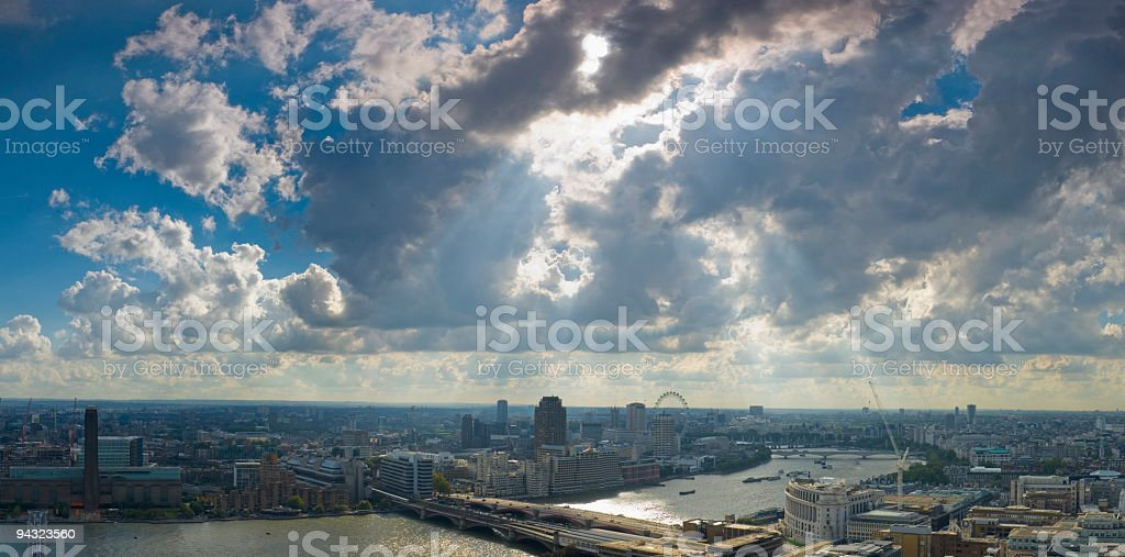 Rays and river, London royalty-free stock photo