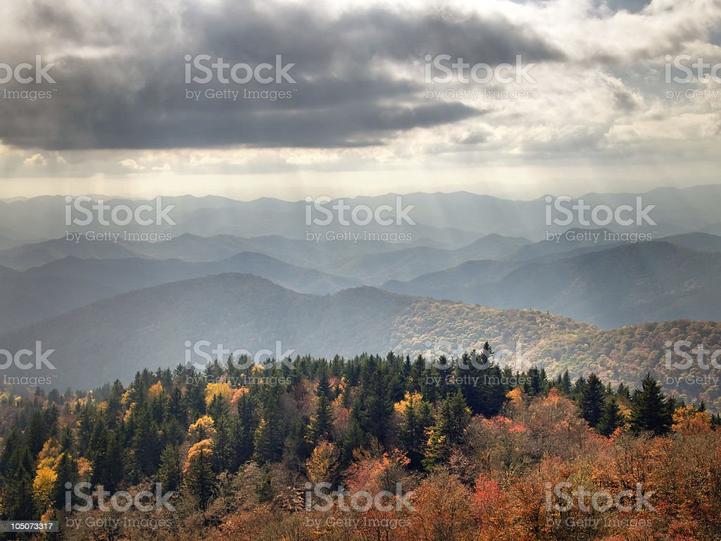 Rays Of Autumn Sunlight Over the Blue Ridge Mountains royalty-free stock photo