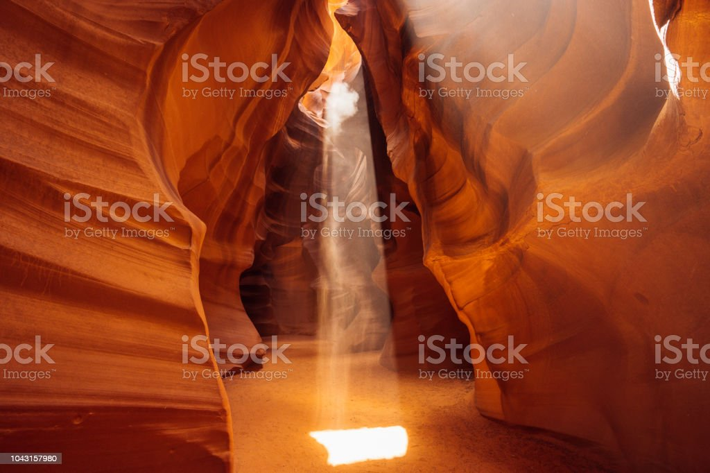 Rays of light in Antelope Canyon stock photo