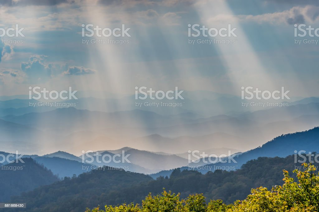 Rays of Sun Shine Over the Blue Ridge Mountains stock photo