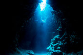 Rays of sunlight into the underwater cave in Miyakojima Island.