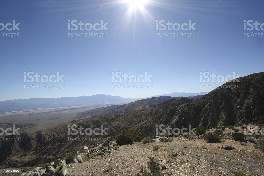 Rays of the sun shine on landscape royalty-free stock photo