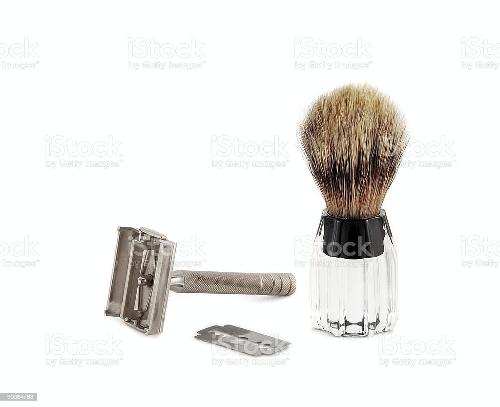 Razor and Brush for Shaving royalty-free stock photo