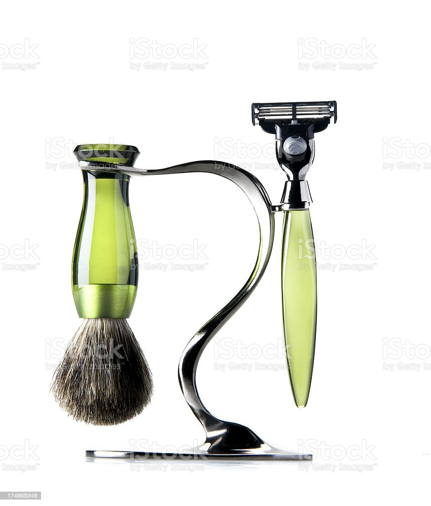 razor and shaving brush stock photo
