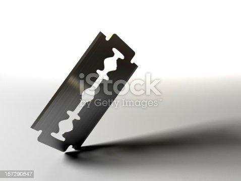 istock Razor blade on white background 157290547