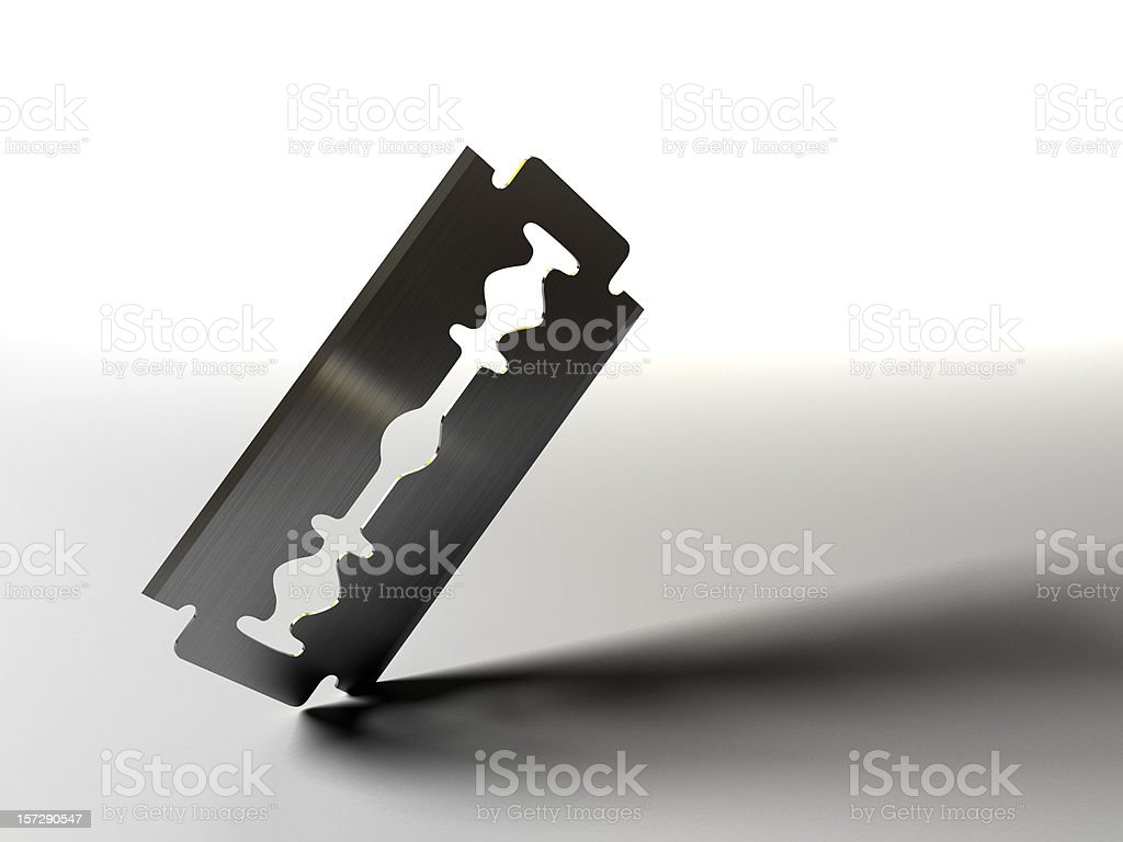 Razor blade on white background stock photo