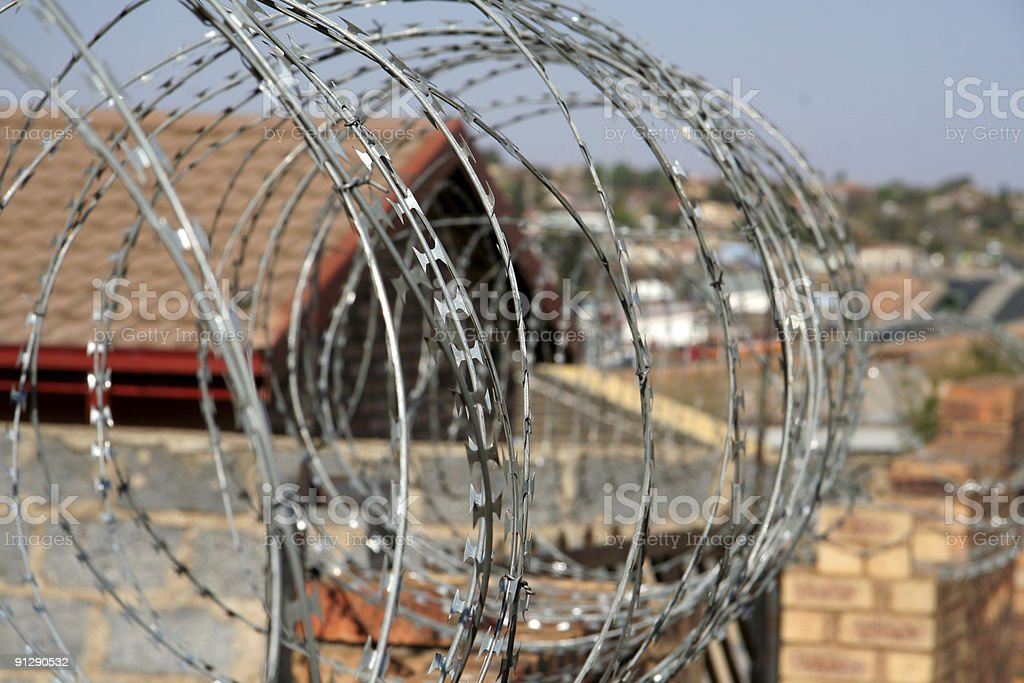 Razor Wire Around House In Township Soweto South Africa Stock Photo ...