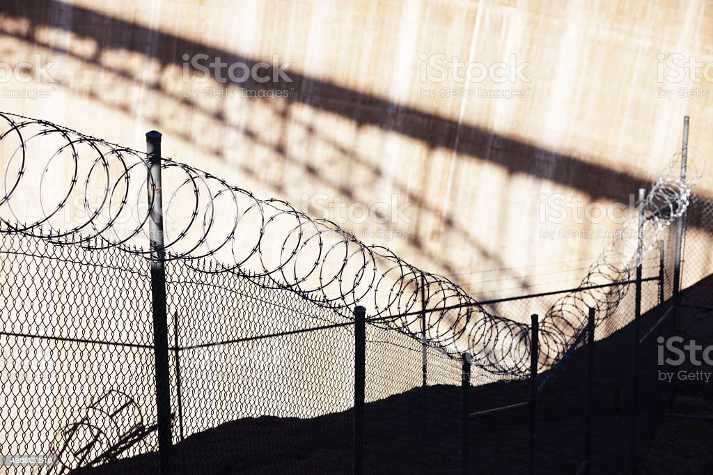 Razor Wire Barbed Fence Barrier stock photo