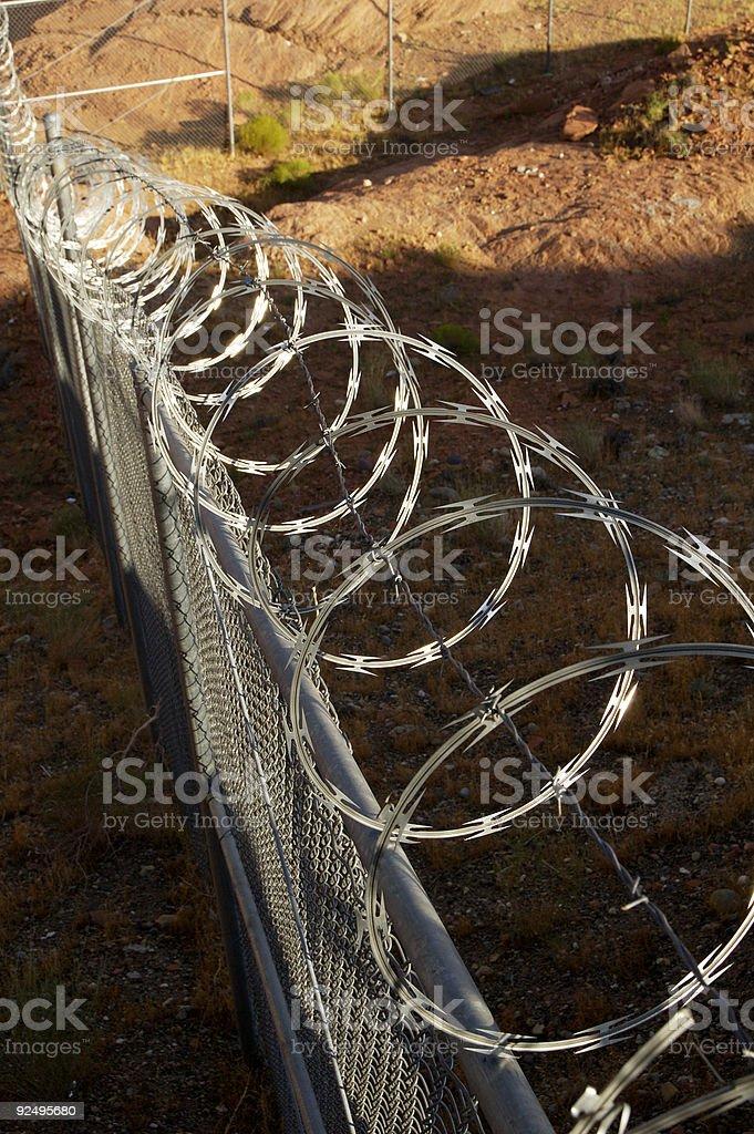 Razor wire fence. royalty-free stock photo