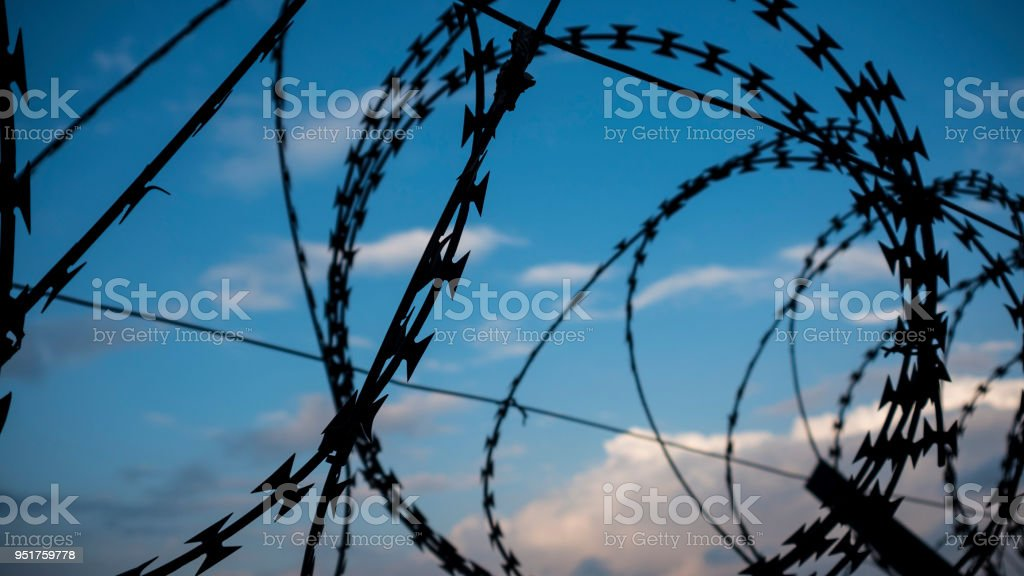 Razor Wire Fence Stock Photo & More Pictures of Barbed Wire | iStock