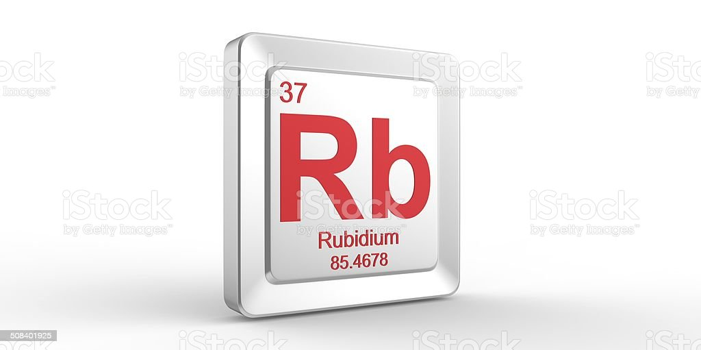 Rb symbol 37 material for Rubidium chemical element stock photo