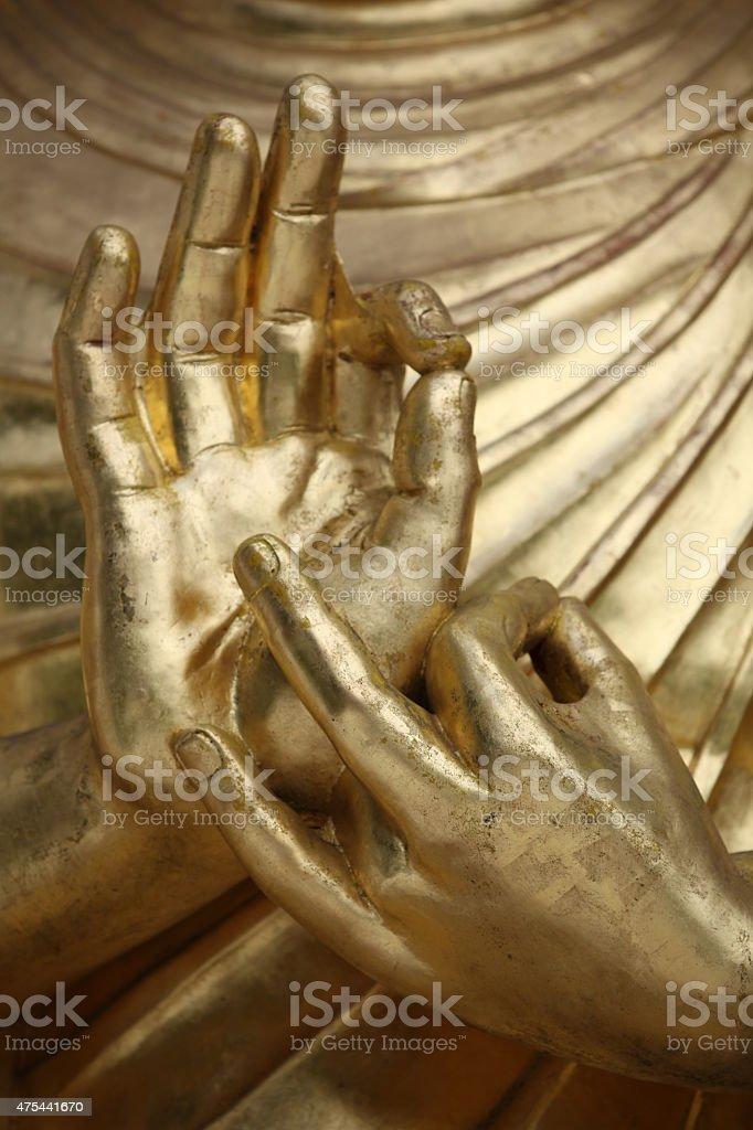 Ręce Buddy w geście mudry stock photo