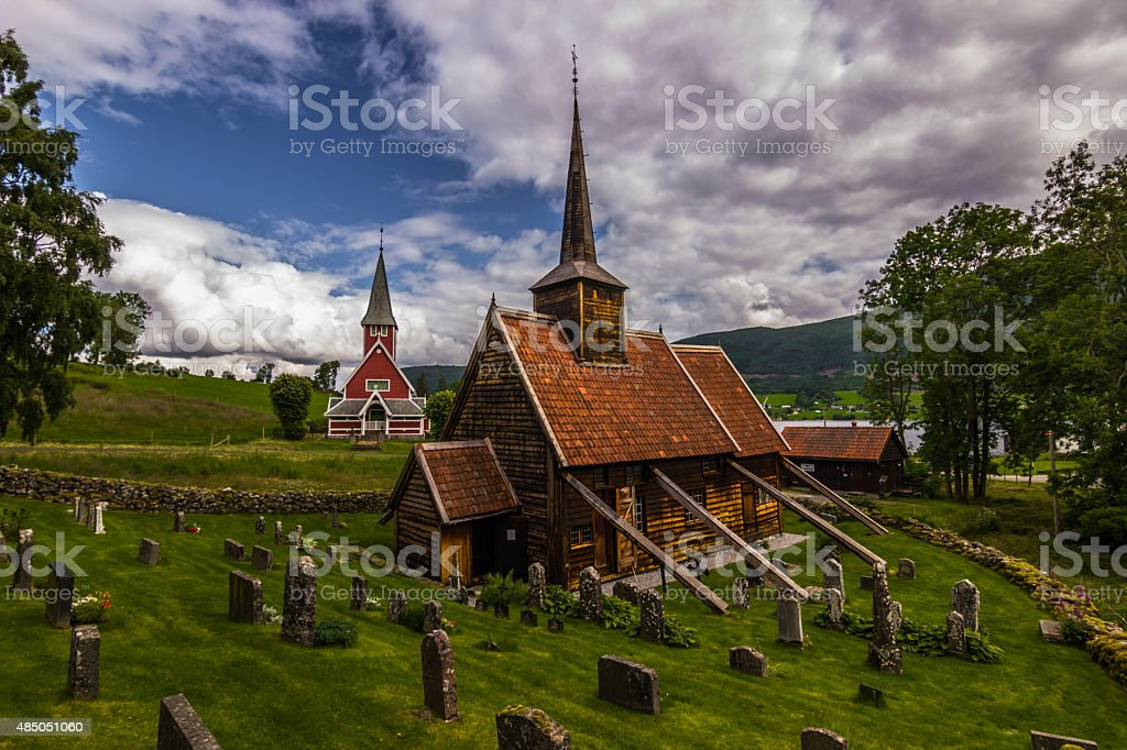 Rødven Stave Church, Norway stock photo