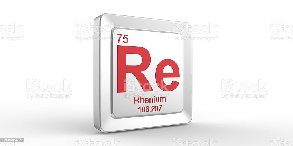 Re Symbol 75 Material For Rhenium Chemical Element Stock Photo