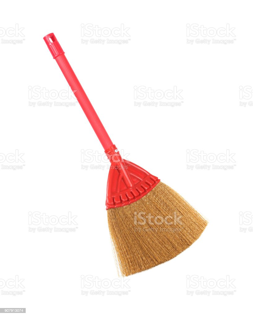 rea broom on white background stock photo