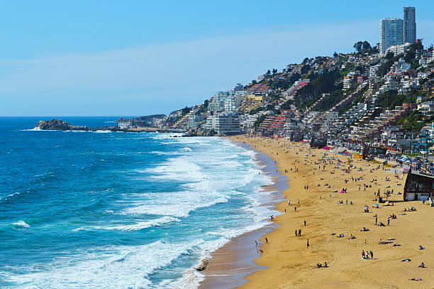 Reñaca Beach in Viña del Mar, Chile stock photo