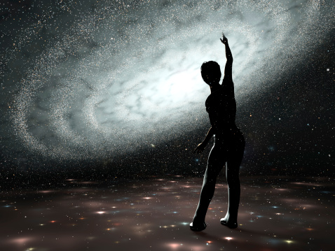 Female trying to touch the milkeyway's stars standing inside a fictive holography like projection of a galaxy. 3d render.