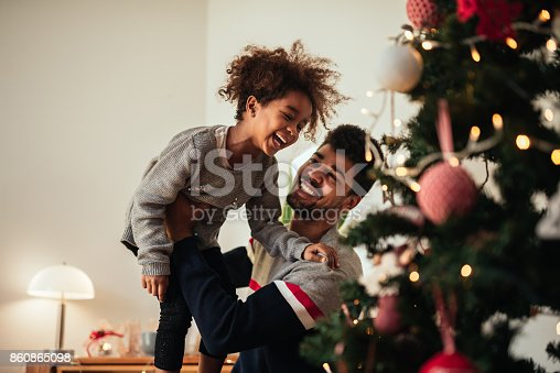 istock Reaching for the top of the Christmas tree! 860865098