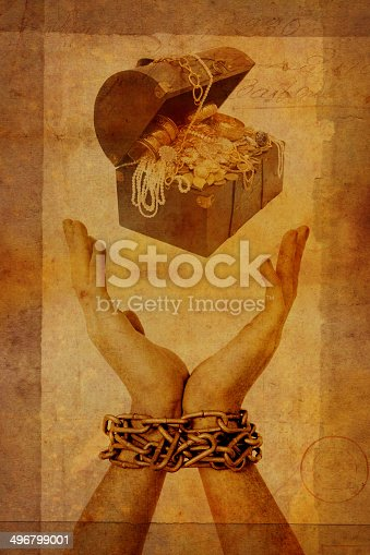 Treasure Chest above outstretched chained hands with grunge effect.  Note that this is a composite, and all images used in this piece of art are my own.