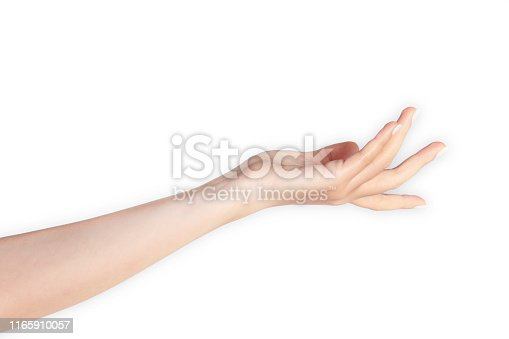Hand reaching out isolated on white.