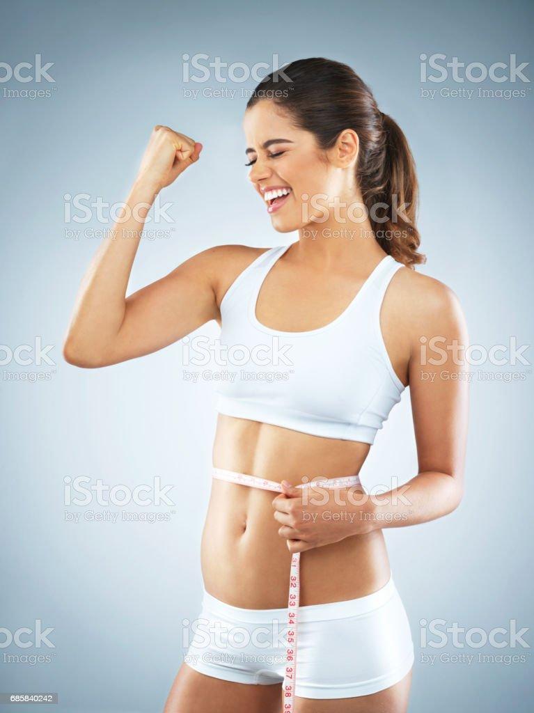 Reaching her health goals stock photo