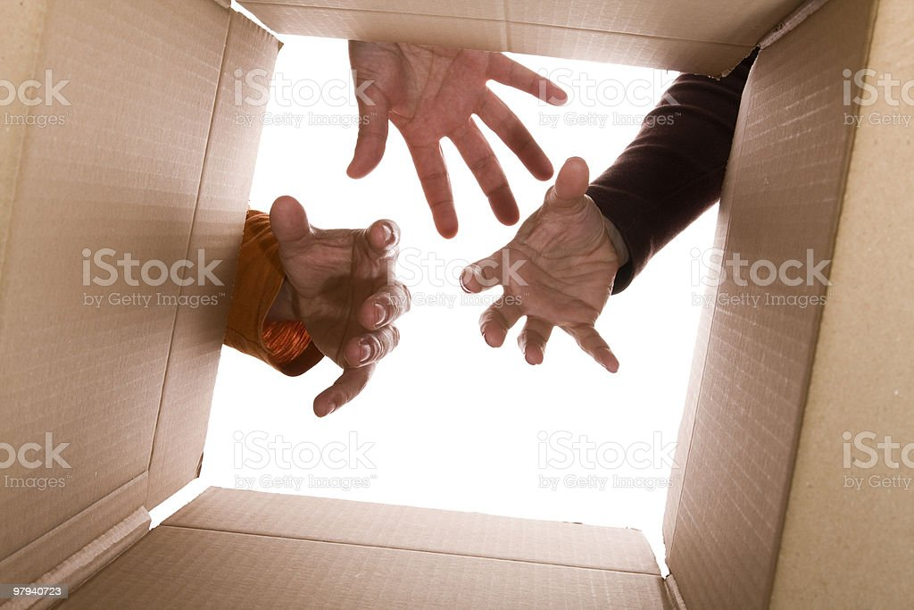 Reaching the contect of my package royalty-free stock photo