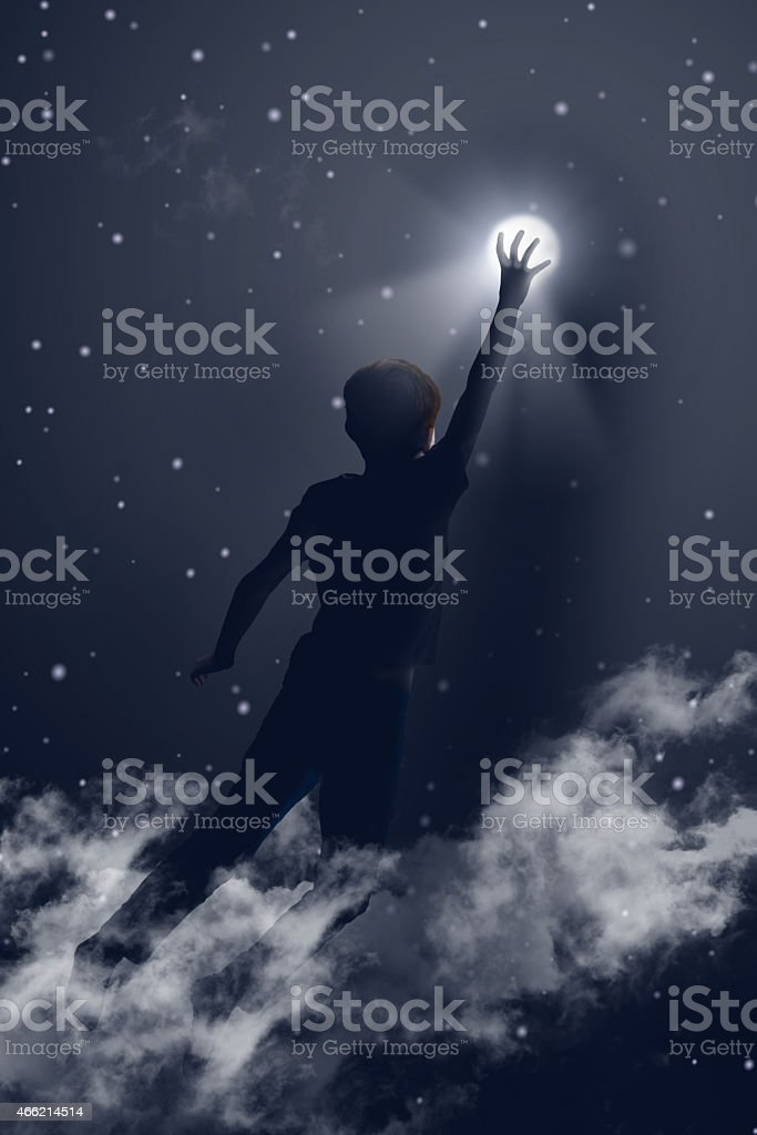 Reaching the moon stock photo