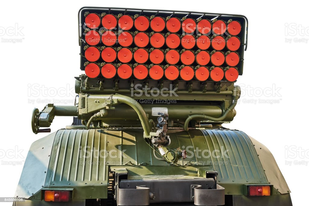 Reactive system of salvo fire. View from the rear. Isolated on a white background stock photo