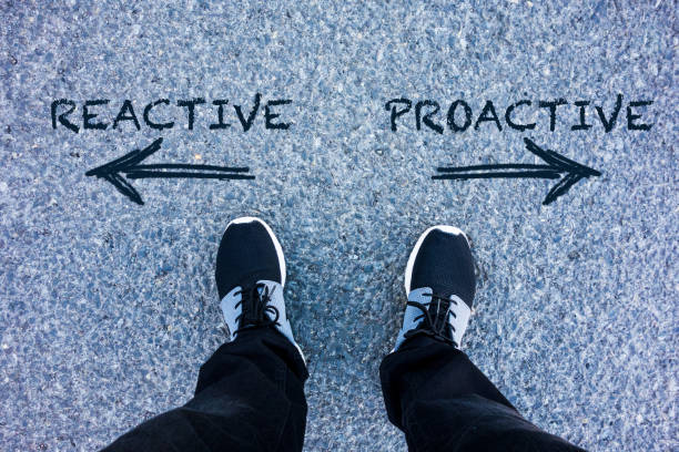 Reactive vs Proactive text on asphalt ground stock photo