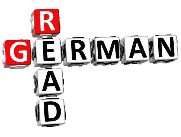 3d lesen deutsche kreuzworträtsel - kreuzworträtsel lexikon stock-fotos und bilder