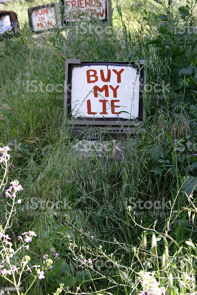 Read My Lips, 'Buy My Lie' royalty-free stock photo