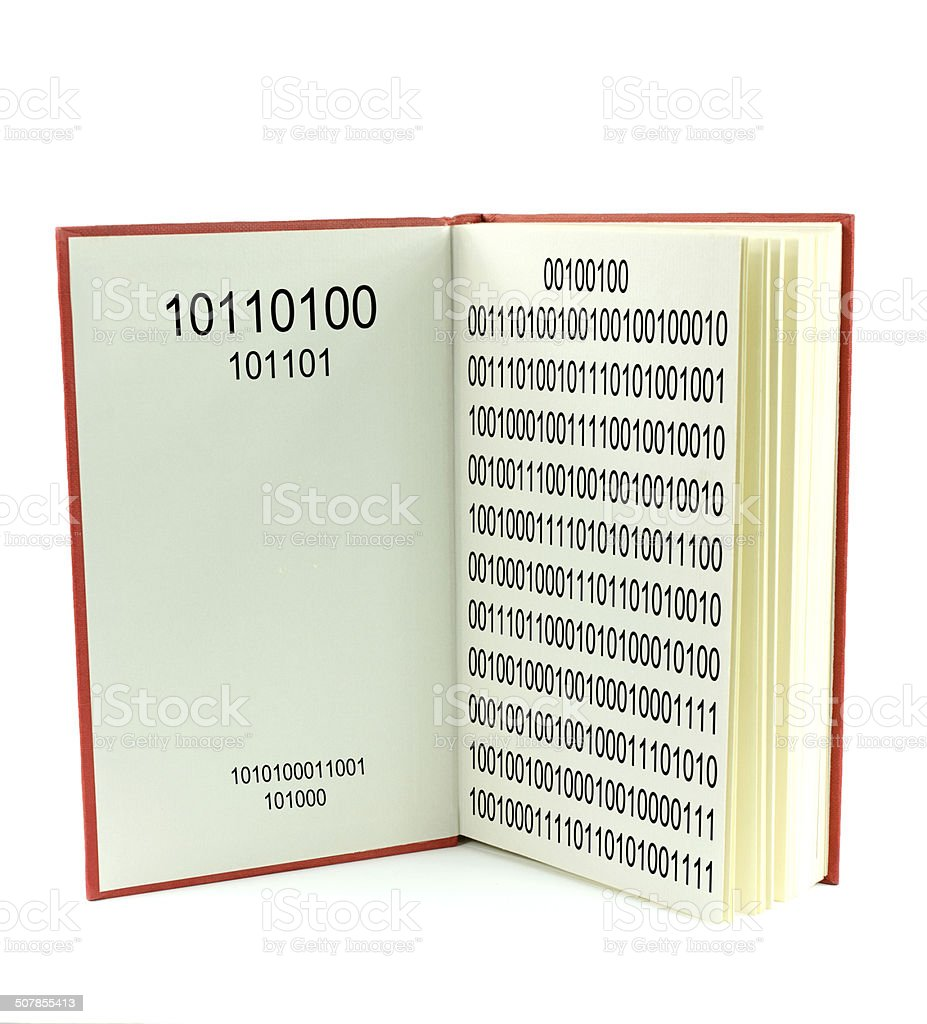 E Reader... Binary bits showing stock photo