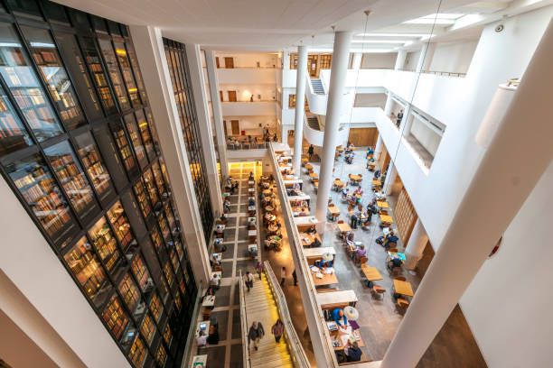 Readers in The British Library stock photo