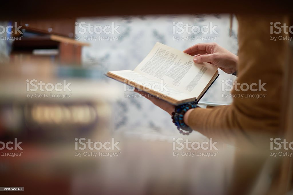 Reading a novel stock photo